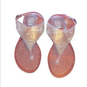 Jelly thong sandals with rhinestone! Glitter! 7.5